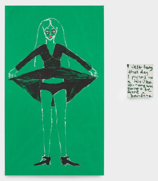 Jenny Watson I felt lucky, 1995-96; oil on cotton, acrylic on canvas; 152 x 75 cm; 25 x 20 cm (canvas size); Enquire