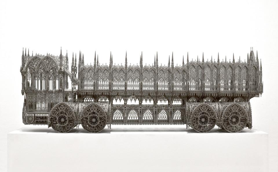 Wim Delvoye Dump Truck (scale model 1:4,75), 2010; lasercut corten steel; 200 x 47 x 69 cm; enquire