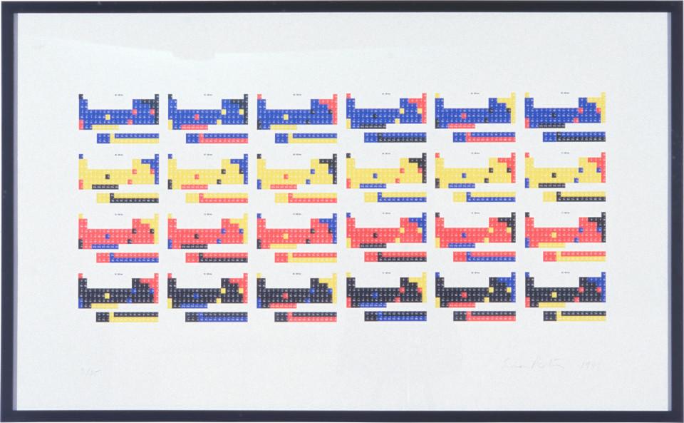 Simon Patterson Untitled, 1996; silkscreen print (24 tables); 68 x 109 cm; Edition of 45; enquire