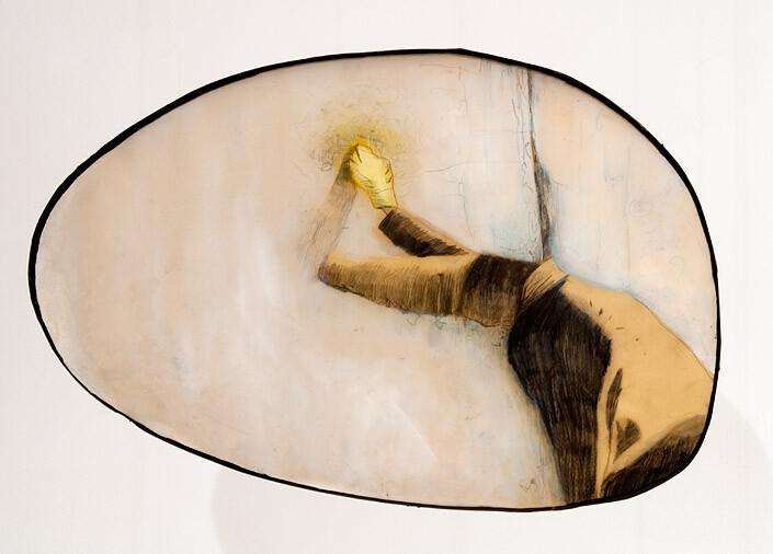Hossein Ghaemi getting domestic III, 2009; liquid glass, paper, boxboard, gouache, pencil, chalkboard paint; 30 x 43 cm; enquire