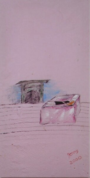 Jenny Watson Bed and fireplace, 2001; oil on cotton, acrylic on canvas; 121.5 x 71.5 cm, 25 x 20 cm; enquire