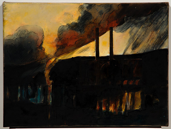 Mandy Martin Epic Fatality: Tullawarra Powerhouse, 2007; Ochre, pigment and acrylic on arches paper; 30 x 40 cm; enquire