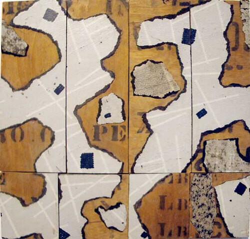 Rosalie Gascoigne Untitled (chart), 1992-93; Torn linoleum on plywood; 40.5 x 42.5 x 2 cm; enquire