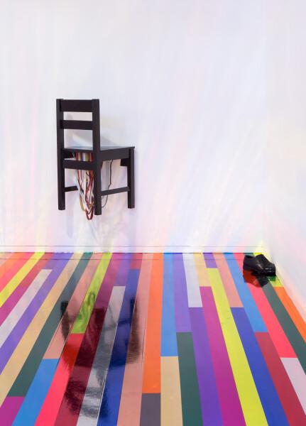 Jim Lambie Don't Fight It, Feel It (Primal Scream), 2015; wooden chair, leather shoe, black paint, handbag straps; 123 x 173 x 80 cm; enquire