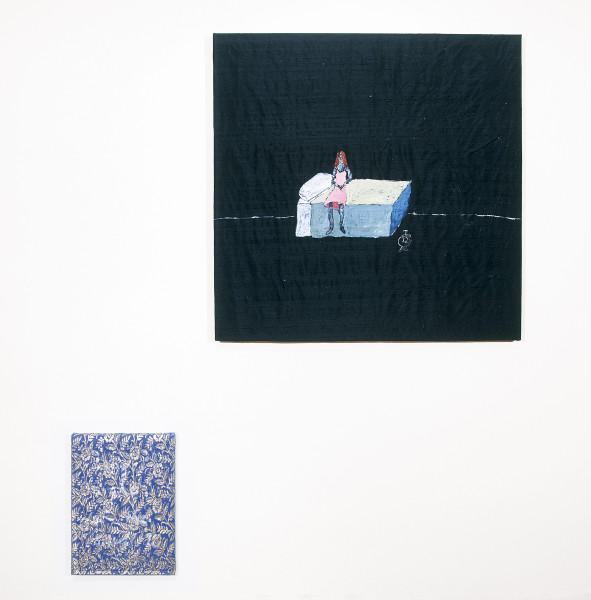 Jenny Watson Long night of the soul I, 2004; 2 panels: acrylic on Indian silk, acrylic on Indian brocade; 2 panels: 90.5 x 91cm, 40 x 30.5cm; enquire