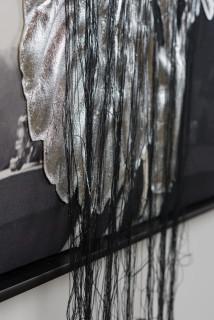 Caroline Rothwell #rothwellofficeplants, @roslynoxley9 (detail), 2017; ink on linen, Hydrostone, canvas, thread, metal leaf; 118.5 x 118.5 cm; enquire