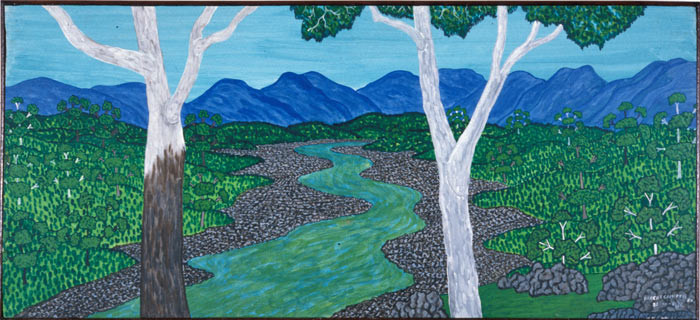 Robert Campbell Jnr Macleay Valley, 1990; acrylic on canvas; 53 x 116.5 cm; enquire