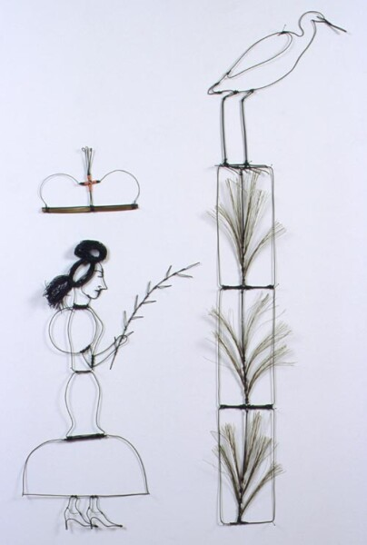 Jacqueline Fraser The Benediction of Goat Island our Saviour: And this is the toxic pine tree that stained the wading heron., 1998; green wire, electric cable, black pins; 130 x 65 cm; enquire