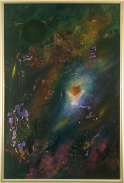 Dale Frank The Two Saints, 1986; acrylic & mixed media on canvas; 115 x 77 cm; enquire