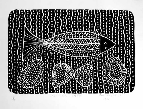 Robert Campbell Jnr Fish, Pippie, Oyster, 1988; lino cut; 28.7 x 43.4 cm; edition of 10; enquire