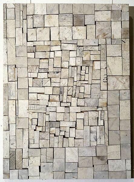 Rosalie Gascoigne White Out, 1994; sawn wood on craftboard; 82 x 59 cm; enquire