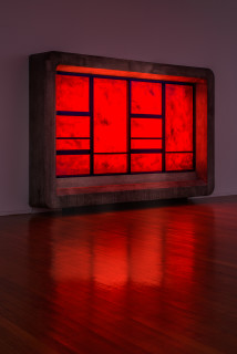 installation view; Callum Morton The End #3, 2020; polyurethane, timber, steel, glass, synthetic polymer paint, lights, sound; 240 x 360 x 50 cm; Enquire