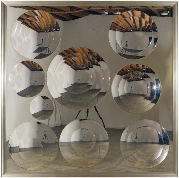 Dale Frank Horizon 25's, 2015; varnish on perspex discs on perspex; 210 x 210 cm; enquire