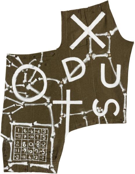 Fiona Hall EXODUST (II), 2020; oil paint on military garment; 158 x 115 cm; enquire