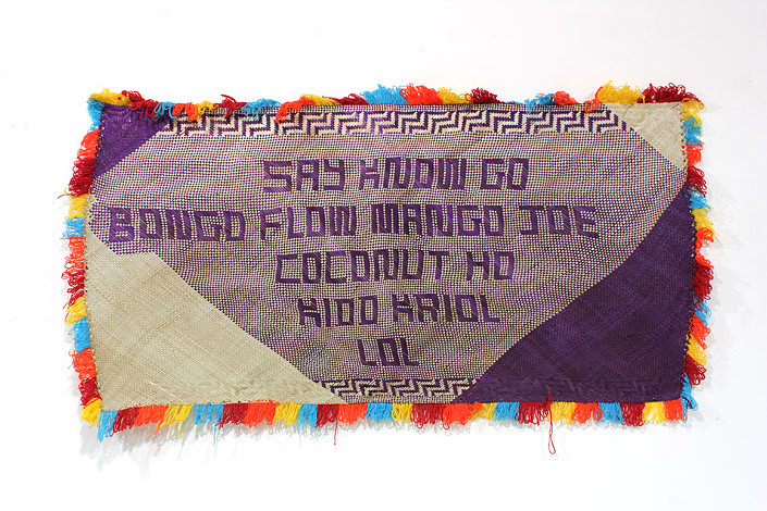 Newell Harry untitled (Say No Go), 2011; from the series gift mat; Pandanus, dye, synthetic wool ; 82 x 165 cm; enquire