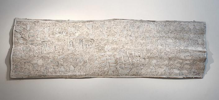 Nyapanyapa Yunupingu 3. Untitled, 2013; 4374N; natural earth pigments on bark; 235 x 74 cm; enquire