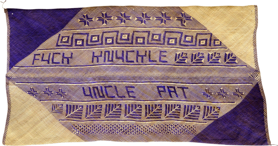 Newell Harry untitled (Fuck Knuckle Uncle Pat), 2007; from the series gift mat; pandanus, dye; 111 x 210 cm; irregular; enquire