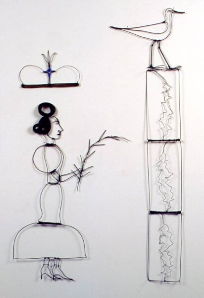 Jacqueline Fraser The Benediction of Goat Island our Saviour: And this is the seeping algae that choked the strutting godwit., 1998; green wire, electric cable, black pins; 120 x 65 cm; enquire