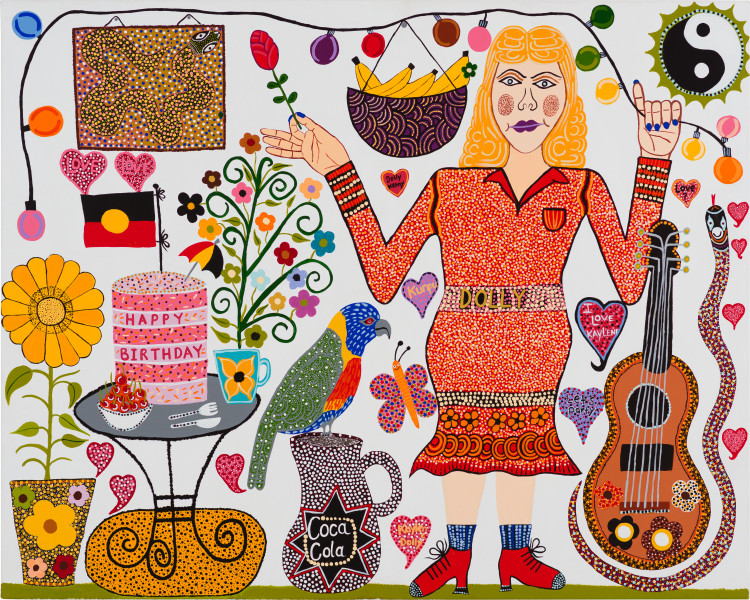 Kaylene Whiskey Dolly's Birthday, 2020; Acrylic on linen; 122 x 152 cm; enquire