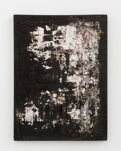 Kirtika Kain The Solar Line XVI, 2020; Tar, plaster, vermilion pigment, screen printing emulsion, silicon carbide, disused silk screen; 79 x 58 cm; enquire