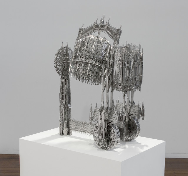 Wim Delvoye Concrete Mixer (scale model 1:4), 2011; Lasercut stainless steel, nickeled; 83 x 35 x 60 cm; enquire