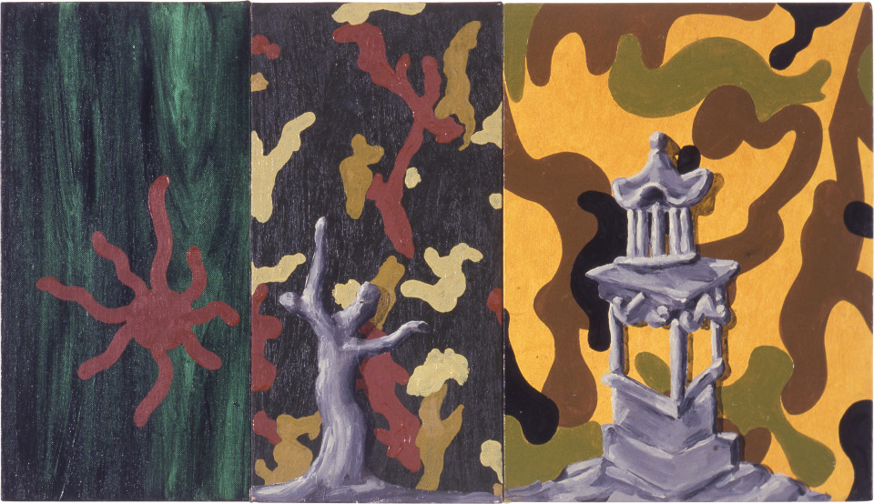 Tony Clark Chinoiserie Landscape, 1987; oil on three canvasboards; 40.5 x 71 cm; enquire