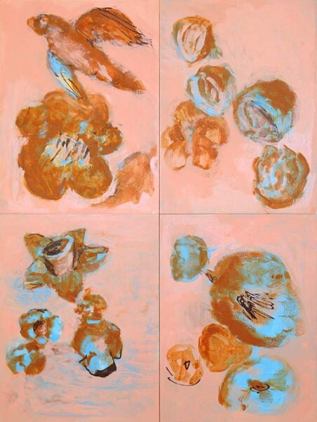 Tony Clark Still life with bird, 2004; acrylic and permanent ink on prepared paper on board 4 panels; 61 x 45 cm; enquire