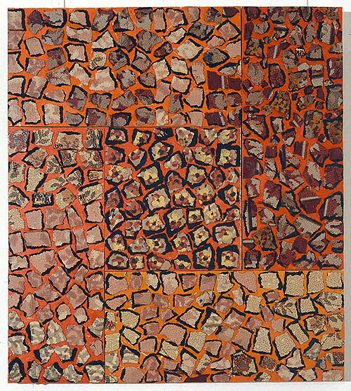 Rosalie Gascoigne Midsummer, 1992; linoleum, retro-reflective roadsign and plywood; 68.5 x 61 cm; enquire
