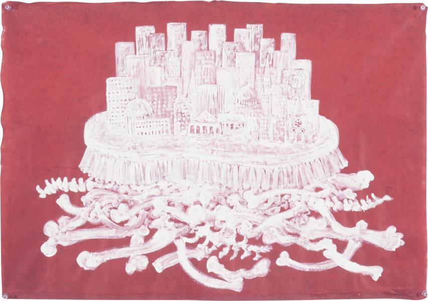 Fiona Hall Whitewash, 1997; gouache on Daphne paper; 56 x 80 cm; enquire
