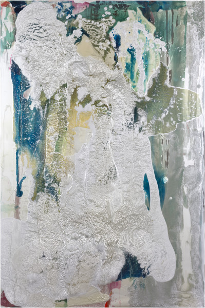 Dale Frank Munchintown 2, 2017; aluminium, silver, varnish and Epoxyglass on Perspex; 150 x 100 cm; enquire