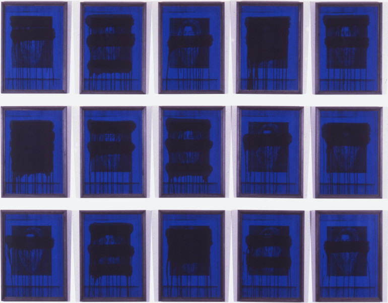 Lindy Lee Night and Day II, 1987; photocopy and acrylic; 150 x 190 cm; enquire