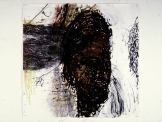 Mike Parr Werner Von Braun (Alchemy and Death), 1987; acrylic, girault pastel & charcoal on canvas; enquire