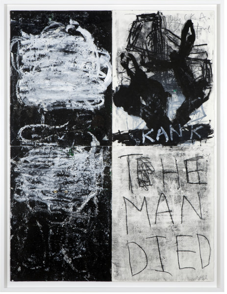 Newell Harry Untitled (Wole Soyinkau2026is still alive), 2012; Monoprint, Sennelier pastel, cowrie shells, marker on ironed Fabriano paper  ; 164 x 125 cm; (paper size: 152 x 113 cm); enquire