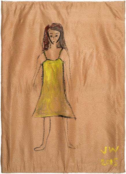 Jenny Watson Girl in a yellow slip, 2015; acrylic on rabbits skin glue primed antique silk; 70 x 50 cm; enquire