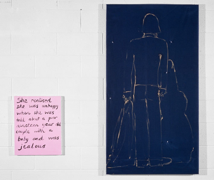 Jenny Watson Boy With A Blue Guitar, 1992; Oil on taffeta with netting and sequins plus synthetic polymer paint on stretcher; 145cm x 39.5cm; 51cm x 40.5cm; enquire