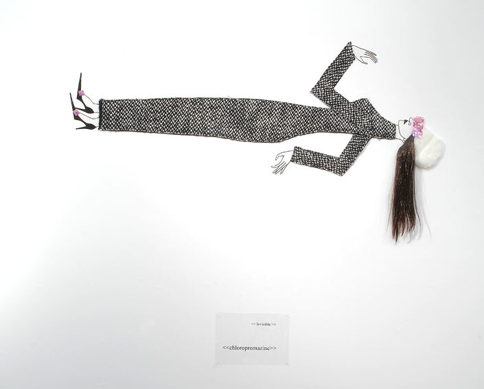 Jacqueline Fraser  , 2004; nylon hair, faux fur, French rosette lace, Italian wool suiting, vylene stiffening; 170 x 85 x 15 cm; enquire