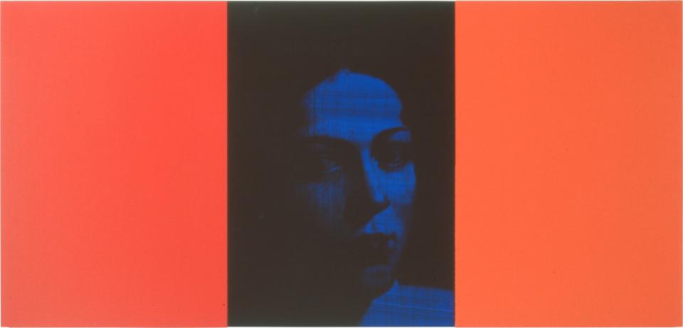 Lindy Lee Dark Vital, 1999; photocopy, oil, acrylic and wax on board; 3 panels, 41.5 x 88.5 cm; enquire