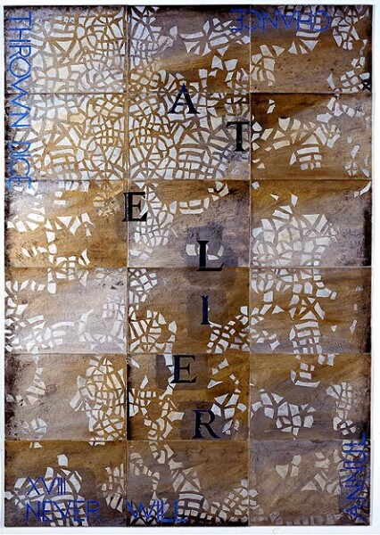 Imants Tillers Atelier XVIII, 2002; synthetic polymer paint, gouache on 18 canvasboards, nos. 72986 - 73003; 152.4 x 106.7 cm; enquire