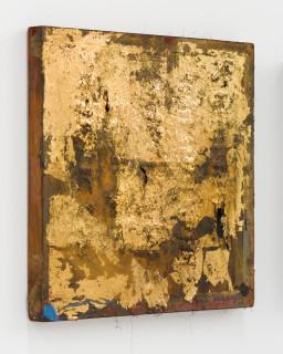 Kirtika Kain The Solar Line VIII, 2020; Tar, gold leaf, gold paint, iron filings, silicon carbide, beeswax, tape, disused silk screen; 37 x 37 cm; enquire