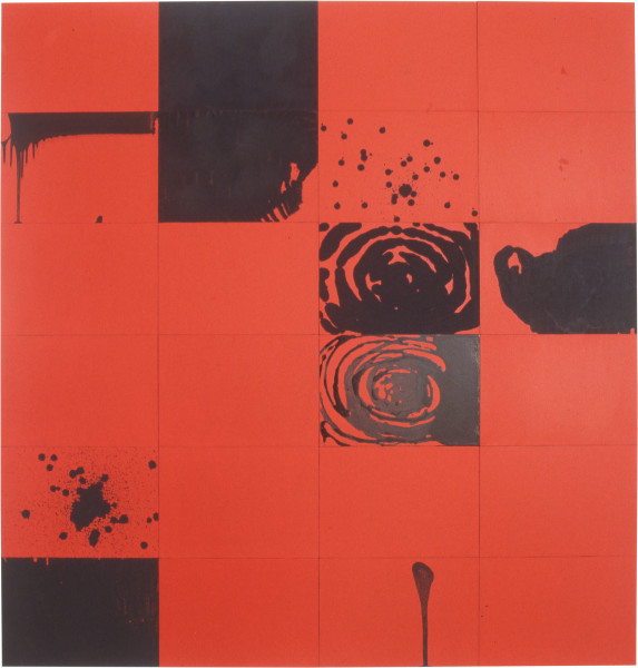 Lindy Lee Shimmer, 1994; acrylic on Stonehenge paper; 171 x 164 cm; 24 panels; enquire