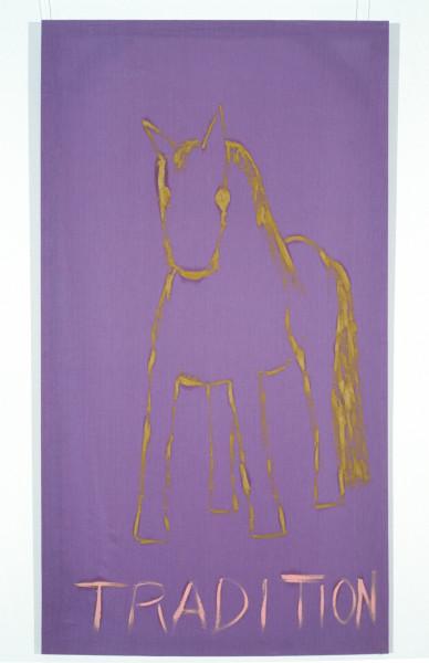Jenny Watson Tradition, 1989-90; oil on Rabbit skin Glue primed liberty cotton; 243.5 x 182.5 cm; enquire