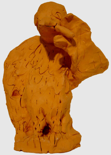 Linda Marrinon Eagle with Cigar, 1999; Terracotta; 28 x 21 x 14.5 cm; enquire