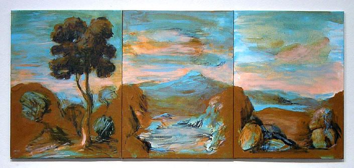Tony Clark Sections from Clark's Myriorama, 2006; acrylic and permanent ink on canvas board; 3 panels, overall dimensions 30.5 x 68 cm; enquire