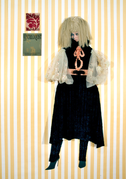 Jacqueline Fraser The Ventriloquist says says, 2005; pleated taffeta ribbon, water stain ribbon, faux fur, French embroidered organza, wig, back light photo, French silk brocade; 175 x 100 cm; enquire