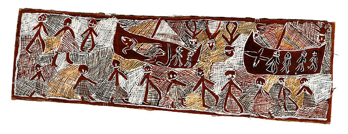 Nyapanyapa Yunupingu 21. Japanese Submarine, 2008; natural earth pigments on bark; 41 x 130 cm; enquire