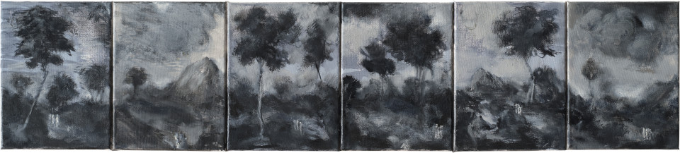 Tony Clark An Extensive Landscape (Six Sections from Clark's Myriorama each showing Jesus on the Road to Emmaus), 2014; oil on canvas; 24 x 18 cm (each panel), 24 x 109 cm (overall); enquire