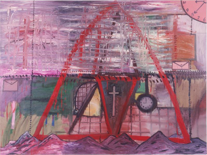 Gareth Sansom Landscape with Cross + 2 Clocks, 1985; oil and enamel on linen; 182.8 x 243.8 cm; enquire