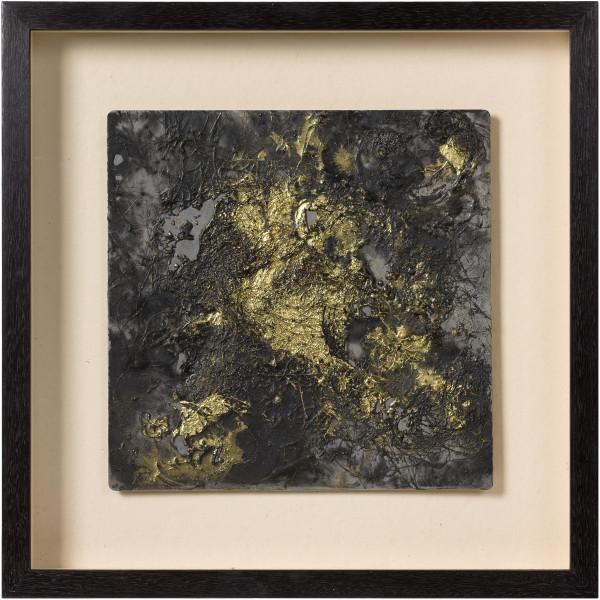Kirtika Kain smoulder, 2019; iron filings, gold pigment, human hair, wax, zinc; 47 x 47 cm; enquire
