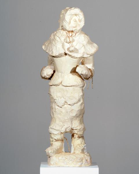 Linda Marrinon Outdoors woman dressed in pelts, 2007; tinted plaster; 75 x 26 x 18 cm; enquire