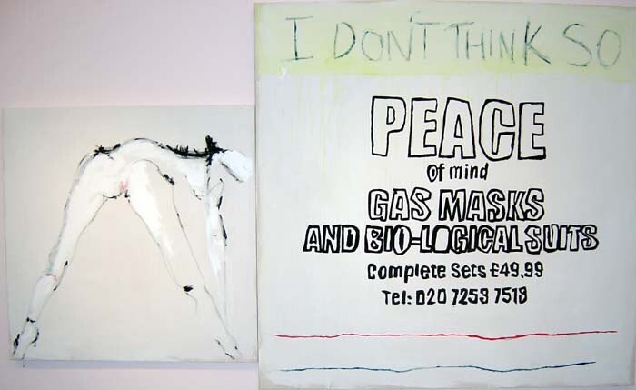 Tracey Emin I DON'T THINK SO, 2002; acrylic on canvas; diptych: 183 x 183 cm and 122 x 122 cm; enquire